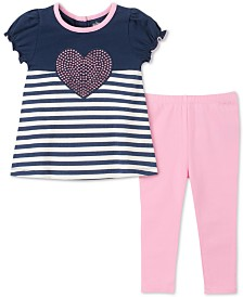 Kids Headquarters Baby Girls 2-Pc. Striped Heart Tunic & Leggings Set
