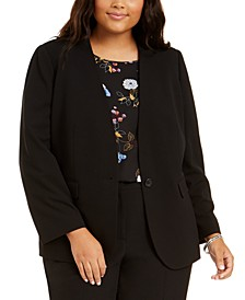 Plus Size Collarless One-Button Jacket