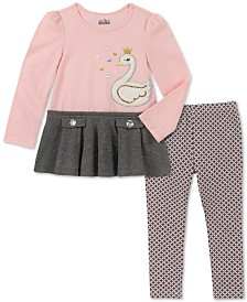 Kids Headquarters Baby Girls 2-Pc. Long Sleeve Swan Tunic & Leggings Set