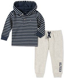 Baby Boys 2-Pc. Hooded Thermal Knit Top & Fleece Jogger Pants Set