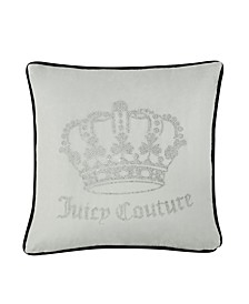 "Juicy Couture Velvet Rhinestone Crown 20"" x 20"" Throw Pillow"