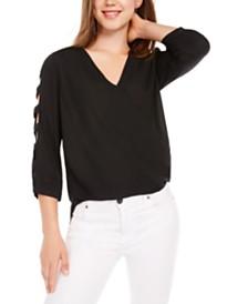 BCX Juniors' Lattice Sleeve Top
