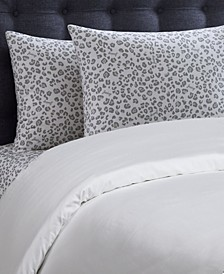 Silver Leopard 4-Piece Queen Microfiber Sheet Set
