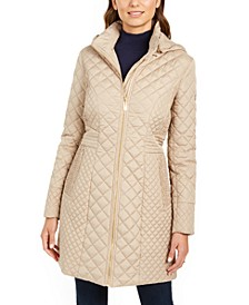 Petite Hooded Quilted Raincoat