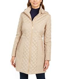 Via Spiga Petite Hooded Quilted Raincoat