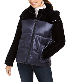 Velvet-Trim Hooded Puffer Coat
