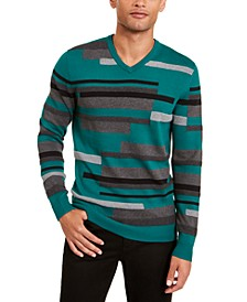 Men's Textured Striped V-Neck Sweater, Created for Macy's
