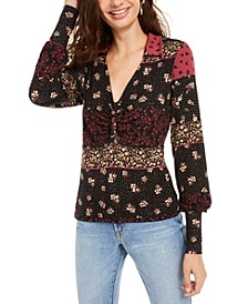 Juniors' Printed Ruched Blouson-Sleeve Top, Created for Macy's