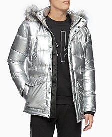 Men's Metallic Puffer Parka With Faux-Fur Trim