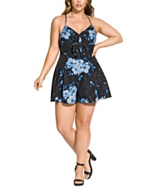 City Chic Trendy Plus Size Bonsai Floral Romper