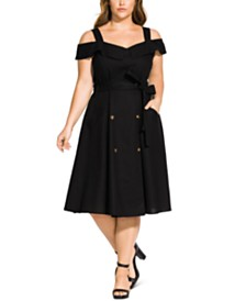 City Chic Trendy Plus Size Cold-Shoulder Double-Breasted Dress
