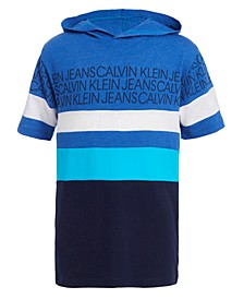 Big Boys Colorblocked Rugby Stripe Hooded Logo Sweatshirt