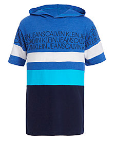 Calvin Klein Jeans Big Boys Colorblocked Rugby Stripe Hooded Logo Sweatshirt