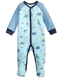 Baby Boys Cotton Dinosaur Footed Pajamas, Created for Macy's