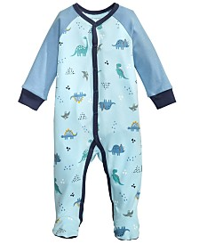 First Impressions Baby Boys Cotton Dinosaur Footed Pajamas, Created for Macy's