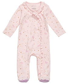 Baby Girls Cotton Ruffled Unicorn Coverall, Created for Macy's