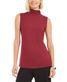 Alfani Petite Mock-Neck Sleeveless Top, Created for Macy's
