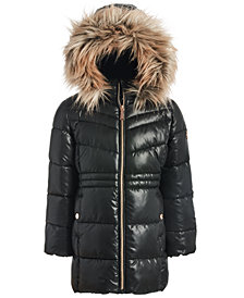Michael Kors Little Girls Stadium Puffer Jacket With Removable Faux-Fur-Trimmed Hood