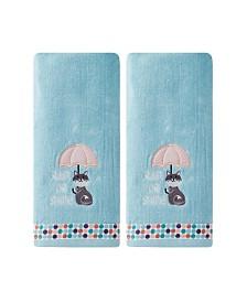 Saturday Knight Ltd Rain or Shine Cat 2 Piece Hand Towel Set