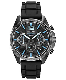 Men's Chronograph Essentials Black Silicone Strap Watch 43.9mm