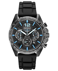 Seiko Men's Chronograph Essentials Black Silicone Strap Watch 43.9mm