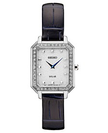 Women's Solar Crystals Blue Leather Strap Watch 24.7mm