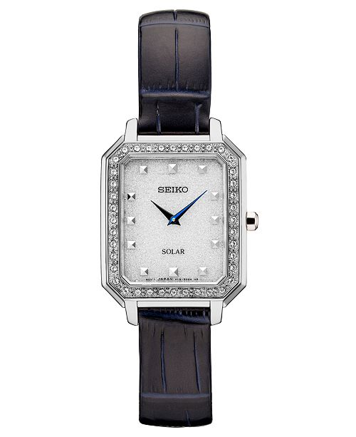 Seiko Women's Solar Crystals Blue Leather Strap Watch 24.7mm