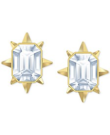 Gold-Tone Crystal Sunburst Stud Earrings