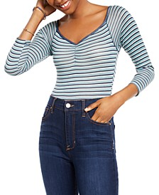 Juniors' Striped Bodysuit