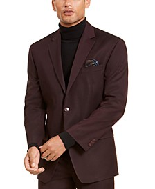 Men's Classic-Fit Stretch Burgundy Neat Suit Separate Jacket