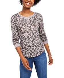 Ultra Flirt Juniors' Printed Waffle-Knit Long-Sleeved T-Shirt