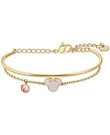 Gold-Tone Crystal Minnie Mouse Bangle & Chain Bracelet