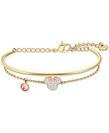Swarovski Gold-Tone Crystal Minnie Mouse Bangle & Chain Bracelet