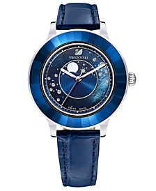 Women's Swiss Octea Lux Moonphase Blue Leather Strap Watch 39mm - A Special Edition