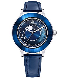 Swarovski Women's Swiss Octea Lux Moonphase Blue Leather Strap Watch 39mm - A Special Edition