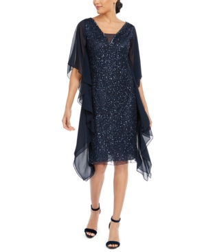 1920s Evening Dresses & Formal Gowns J Kara Sequined Flutter-Sleeve Dress $155.40 AT vintagedancer.com