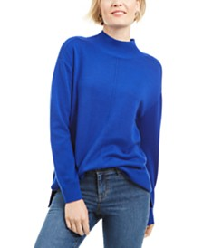 Karen Scott Seam-Detail Cotton Mock-Neck Sweater, Created for Macy's