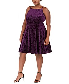 Trendy Plus Size Embossed Velvet Fit & Flare Dress