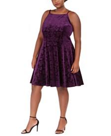 Jump Trendy Plus Size Embossed Velvet Fit & Flare Dress