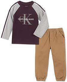 Little Boys 2-Pc. Colorblocked Taped Logo T-Shirt & Twill Jogger Pants Set
