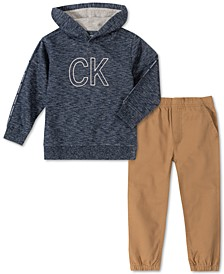 Little Boys 2-Pc. Marled French Terry Logo Hoodie & Twill Jogger Pants Set