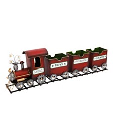 Sterling Red Metal Holiday Train on Tracks with 3 Empty Cars