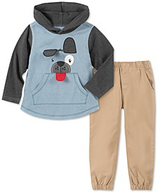 Little Boys 2-Pc. Colorblocked Dog Appliqué Hoodie & Twill Jogger Pants Set