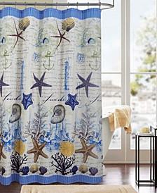 Narragansett Printed Canvas 13-Pc. Shower Curtain Set