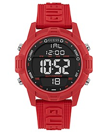 Men's Digital Red Silicone Strap Watch 48mm