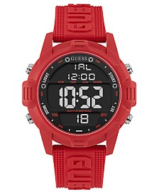 GUESS Men's Digital Red Silicone Strap Watch 48mm