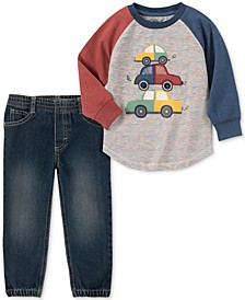 Toddler Boys 2-Pc. Colorblocked Cars Appliqué French Terry Sweatshirt & Denim Jogger Pants Set