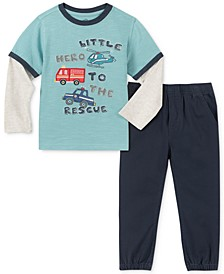 Little Boys 2-Pc. Little Hero Layered-Look T-Shirt & Twill Jogger Pants Set