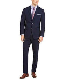 Men's Slim-Fit Stretch Bright Blue Windowpane Suit