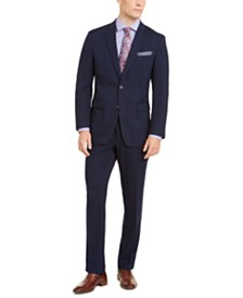 Perry Ellis Men's Slim-Fit Stretch Bright Blue Windowpane Suit
